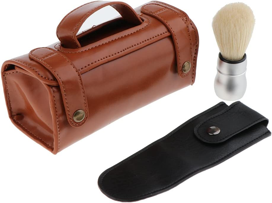 Set de Afeitado de Viaje de Hombres, Cepillo de Afeitar + Bolsa de Almacenamiento + Funda de Maquinilla de Afeitar