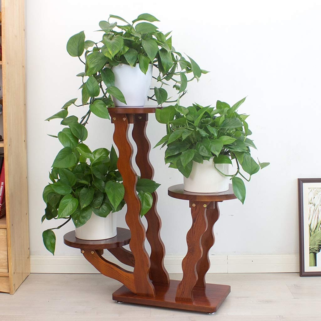 ZHEN GUO Tall Wood Plant Stand Table Indoor Decorative Plant Stool Home Decor Pedestal Stand, Unique Wavy Flower Rack Planter Shelves, Plant Tray (Size : 3 Shelves)
