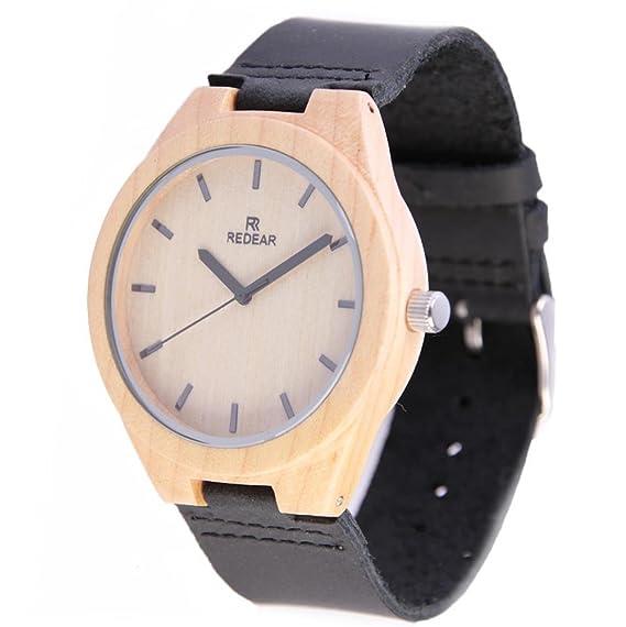 Relojes de madera de bambú para los hombres pulsera de piel auténtica reloj movimiento de movimiento de cuarzo japonés para chicos de Honor: Amazon.es: ...
