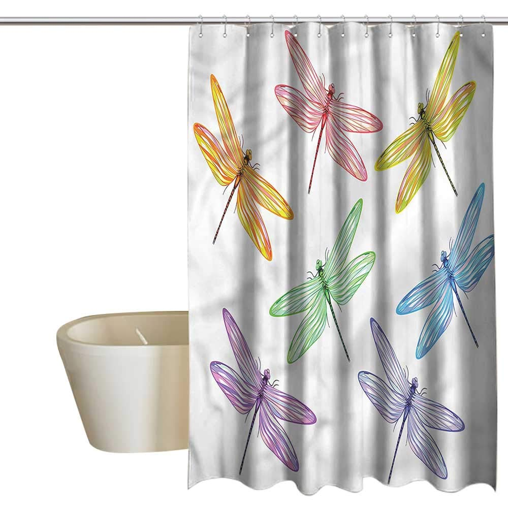 Denruny Shower Curtains Dragonfly,Colored Elongated Patches,W72 x L84,Shower Curtain for Shower stall