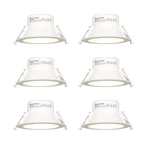 Luces Empotradas Focos Downlights LED Empotrables Lamparas en el Techo 10W Luz Calida 3000K Ø90-105mm Agujero del Techo IP44 AC100~240V Pack de 6 de ...