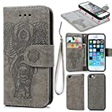 iPhone 5 5S SE Wallet Case, Premium PU Leather Oil Wax Embossed Elephant Case 2 in 1 Flip Detachable Flexible TPU Skin Magnetic Folio Shockproof Cover with Card Slots Wrist Strip Design for iPhone 5 5S SE Gray