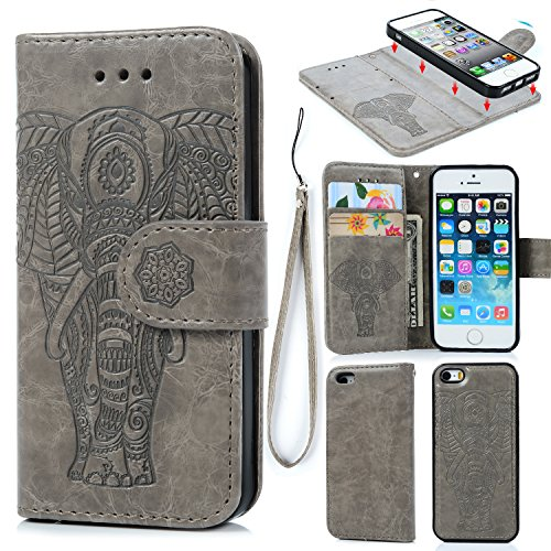 Elephant Leather (iPhone 5 5S SE Case, iPhone 5 5S SE Wallet Case PU Leather Oil Wax Embossed Elephant Detachable Magnetic Wallet Flip TPU Inner Cover Credit Card Slots for iPhone 5 5s SE Gray)