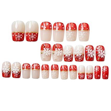 Minkissy 24 piezas uñas postizas con copos de nieve blancos ...