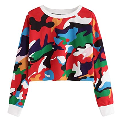 2a04df34aa3c8 Amazon.com: KFSO Womens Long Sleeve Camouflage Printing O Neck Sweatshirt Blouse  Tops (Red, XL)