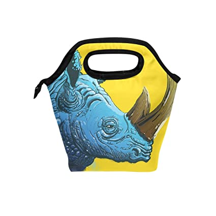 Amazon com: Lunch Tote Bag with Rhino Rhinoceros Horn Print