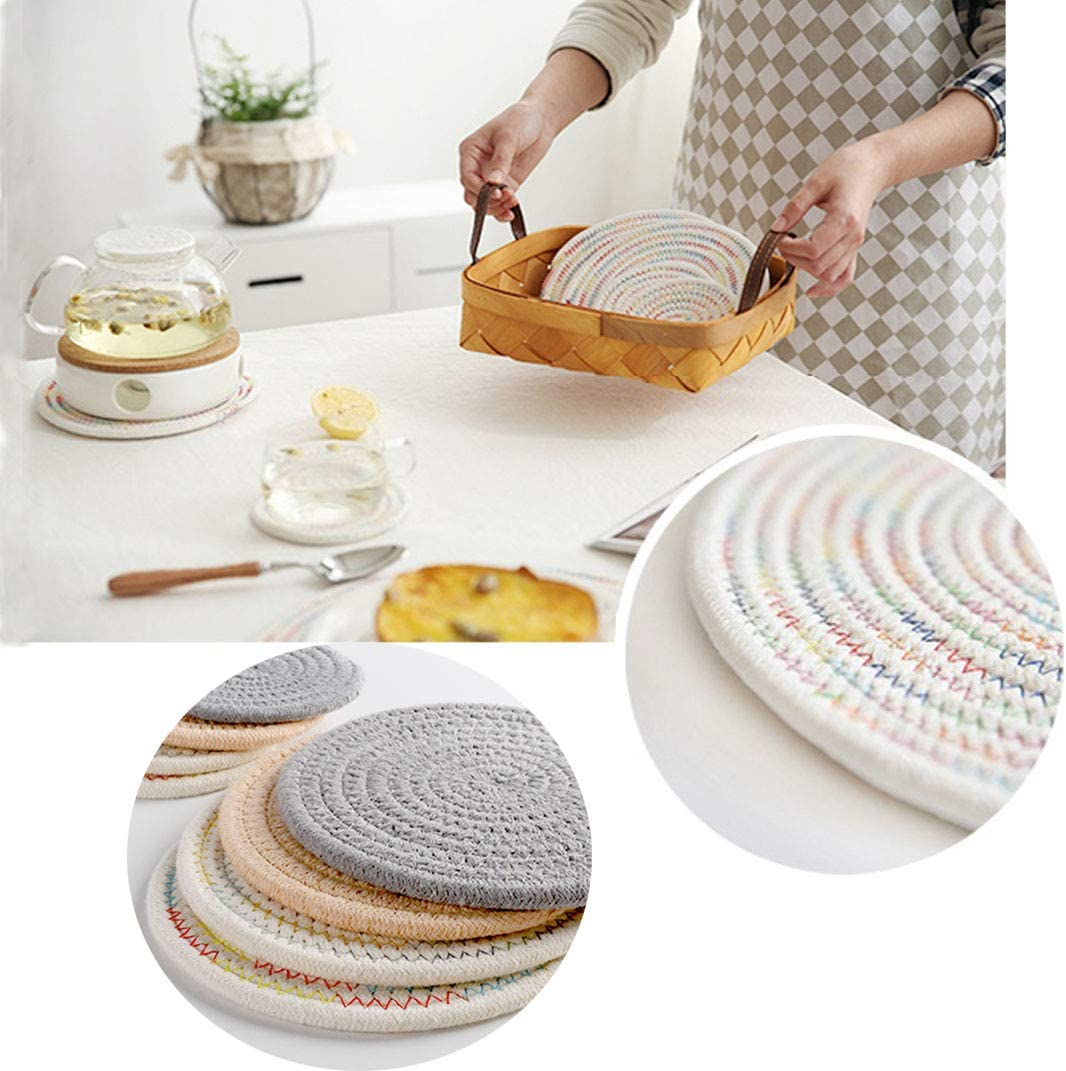 hot Pads 4p Warm Color Garkup Trivet Hot Pot Holders Cotton Thread Weave Pot Holders for Hot Dishes//Pot//Bowl//Teapot//Hot Pot Holders