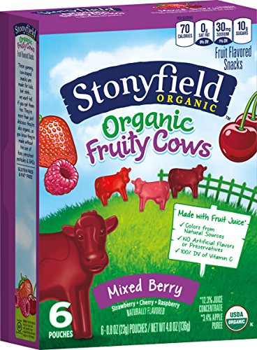 Stonyfield Organic Fruity Cow Snacks, Mixed Berry Flavors Box, 4.8 oz]()
