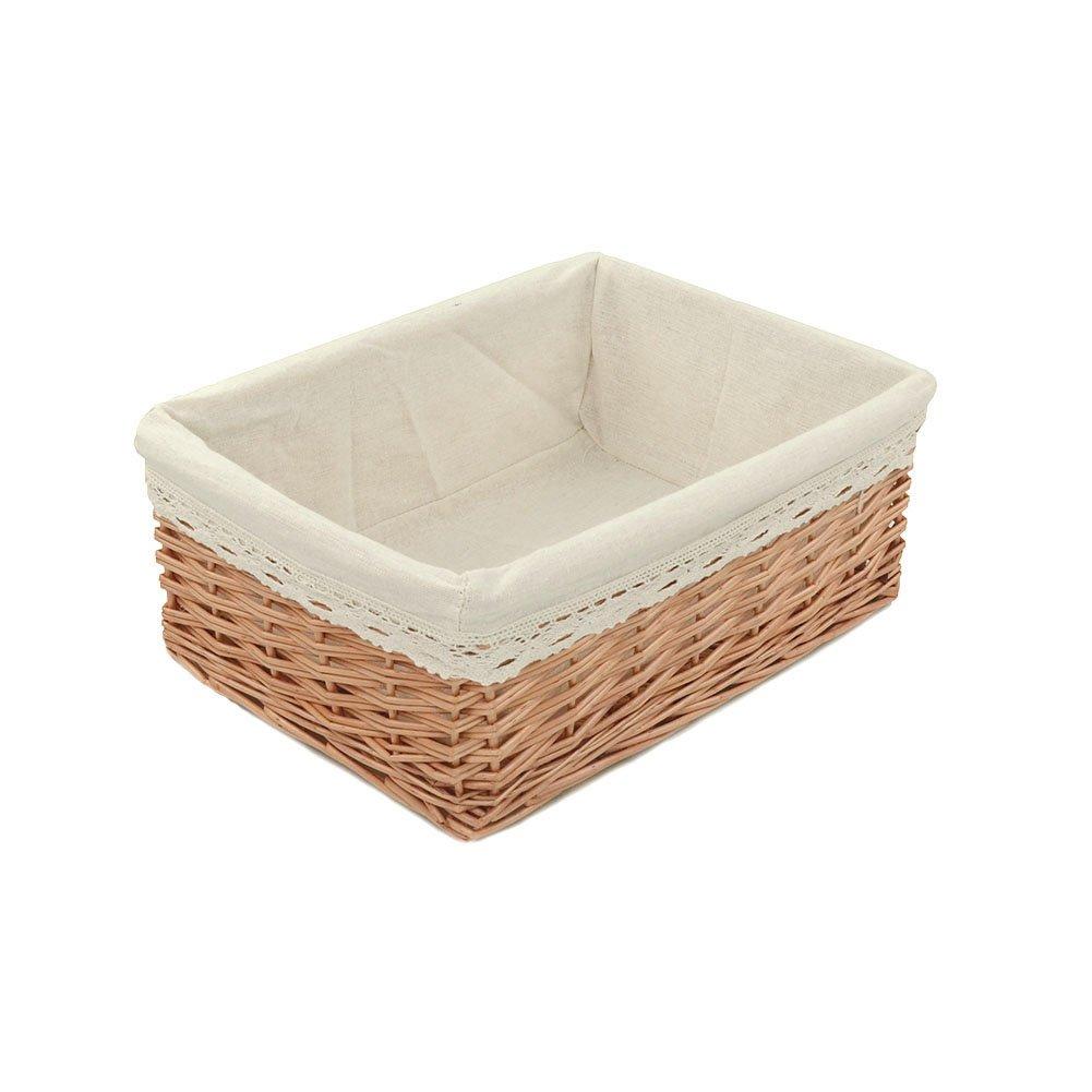 Amazon.com: RURALITY Plain And Elegant Wicker Storage Basket With  Liner,Medium: Home U0026 Kitchen