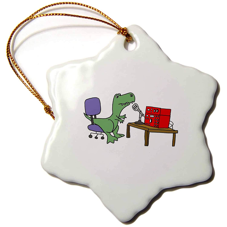 3dRose Funny Trex Dinosaur Using Ham Radio Snowflake Ornament 3 3 orn/_254019/_1
