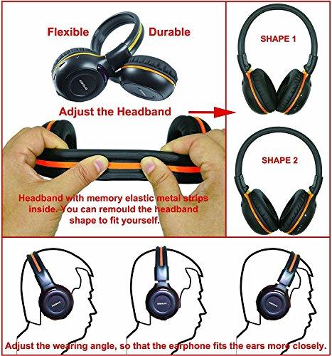 4 Pack of DVD Wireless Headphones, Car Kids Headphones, IR Headphones for Car Entertainment System, Wireless IR Headphones with Dual Channel by SIMOLIO (Image #4)