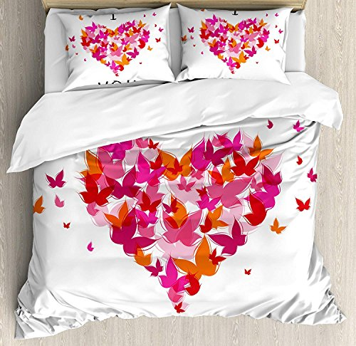 (Love Bedding Duvet Cover Set, Stylish Heart Figure Filled with Butterflies Soul Mate Real True Deep My Dear Illustration, Decorative 3 Piece Bedding Set with 2 Pillow Shams, Multicolor)