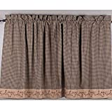 #4: Berry Vine Gingham 36 Inch Curtain Tiers - Black