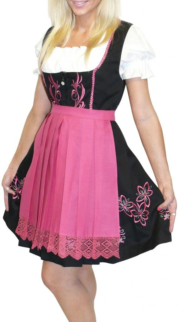 Dirndl Trachten Haus 3-Piece Short German Wear Party Oktoberfest Waitress Dress 14 44 Black Pink