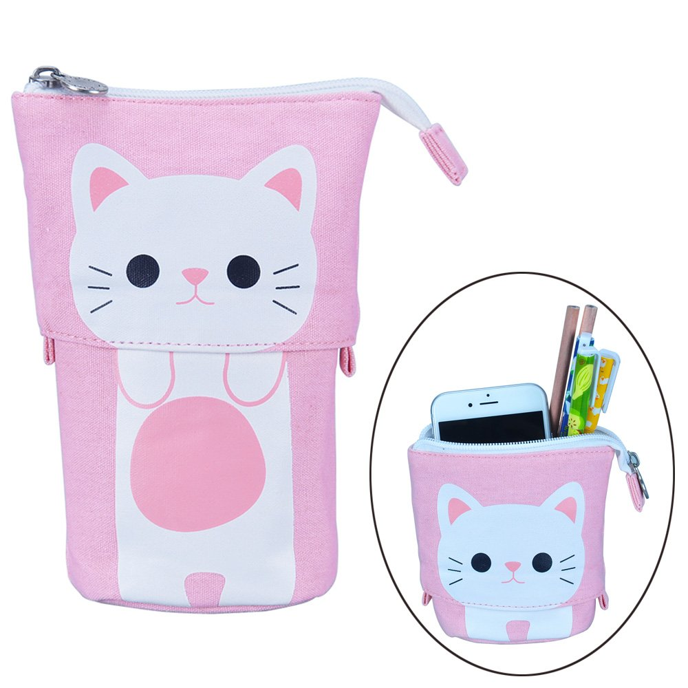 Oyachic Telescopic Pencil Stand Case Canvas Zipper Pen Pouch Small Cosmetics Bag Cute with Inner Pocket (Pink) by Oyachic (Image #1)