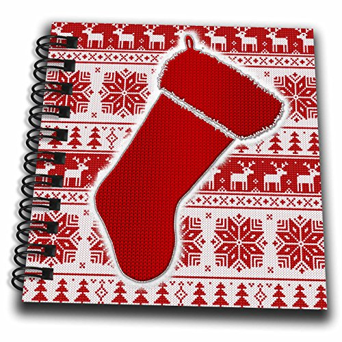 3dRose Doreen Erhardt Christmas Collection - Needlepoint Knit Patterns in Red and White with Christmas Stocking - Mini Notepad 4 x 4 inch (Mini Needlepoint Christmas Stocking)