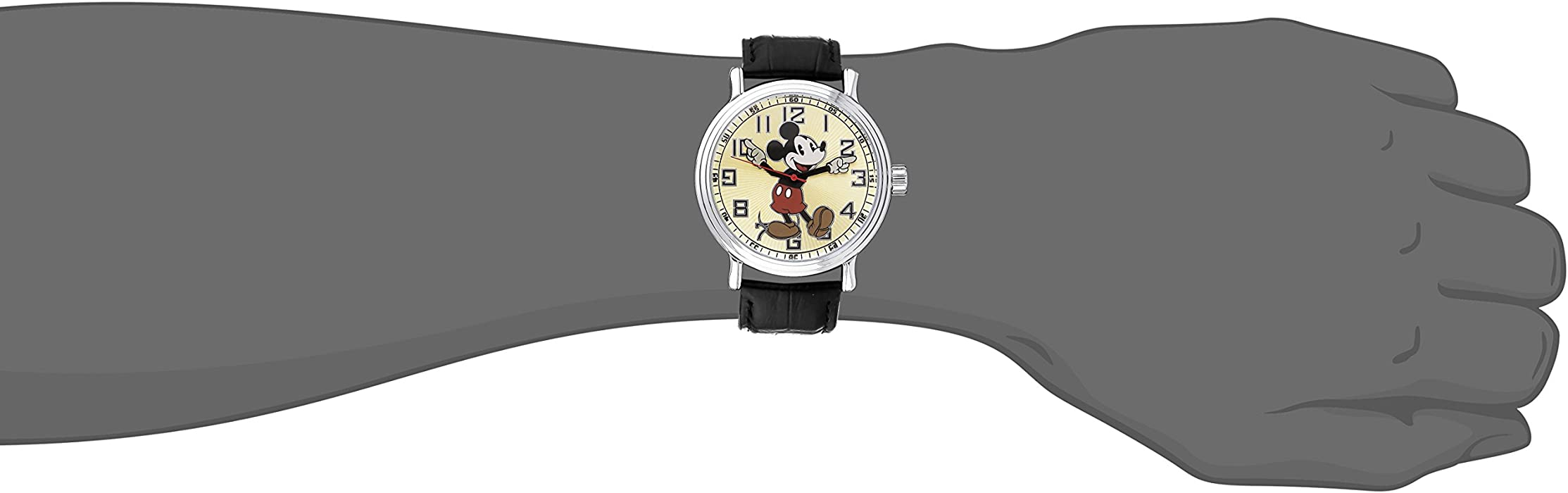 Disney Men 56109 quotVintage Mickey Mousequot Watch with Black Leather Band