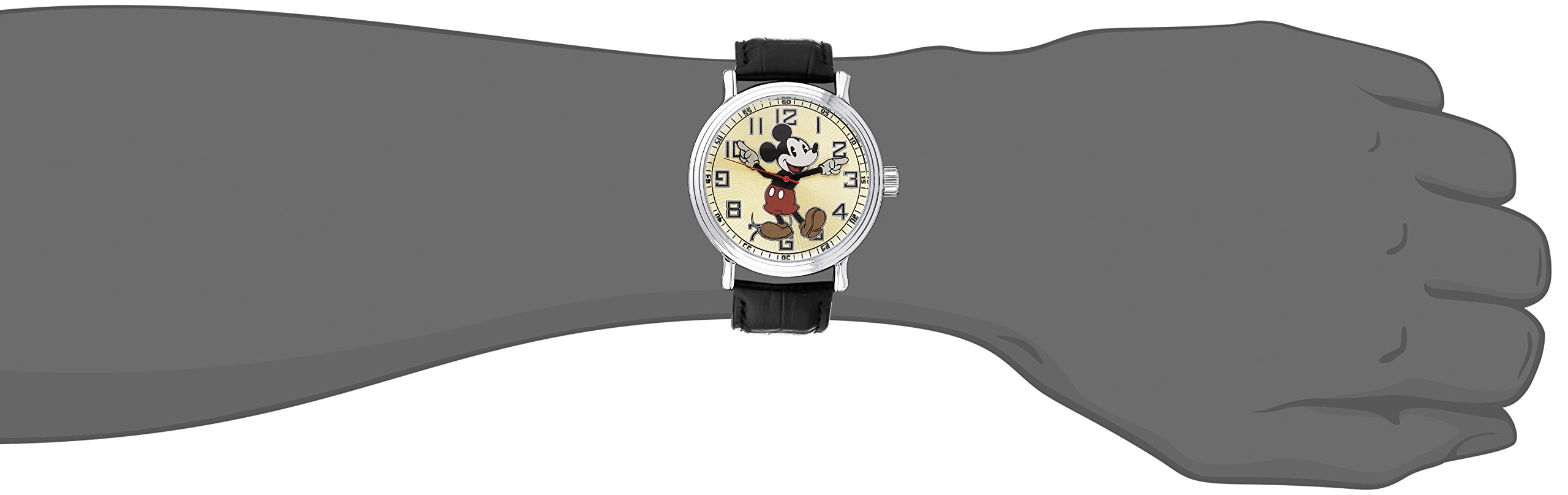 """Disney Men's 56109 """"Vintage Mickey Mouse"""" Watch with Black Leather Band"""