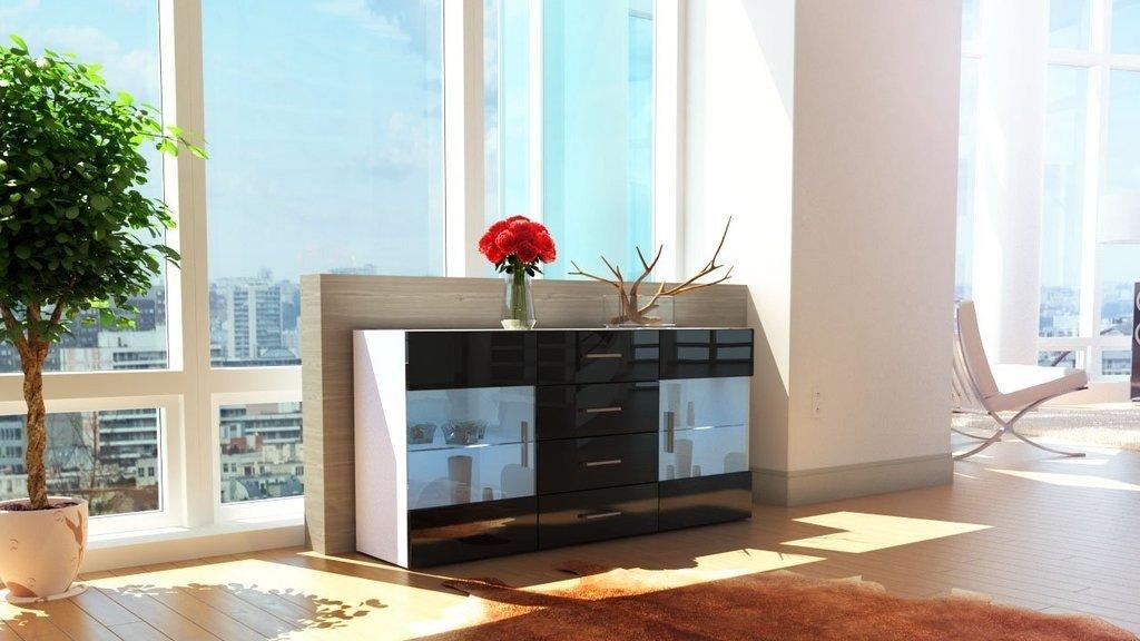 Credenza Moderna Nera : Mobile credenza madia open bianco nero lucido 139: amazon.it: casa e