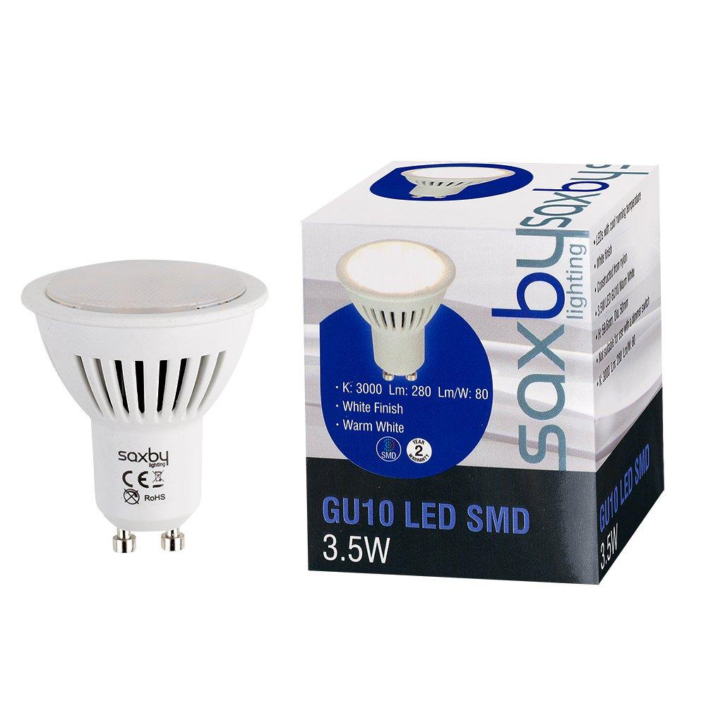 Pack Of 10 Saxby 3 5w Led High Power Gu10 Smd Frosted Lens Energy Saving Long Life Spotlight Bulbs 280 Lumens Warm White 3000k Buy Online In Gibraltar