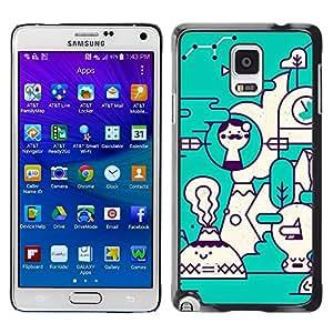TopCaseStore / la caja del caucho duro de la cubierta de protección de la piel - Art Teal White Futuristic - Samsung Galaxy Note 4 SM-N910