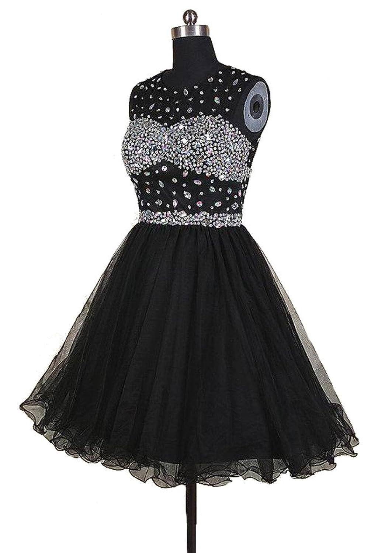 Yudear Women's A-line Mini/Short Rhinestones Scoop Homecoming Prom Dresses