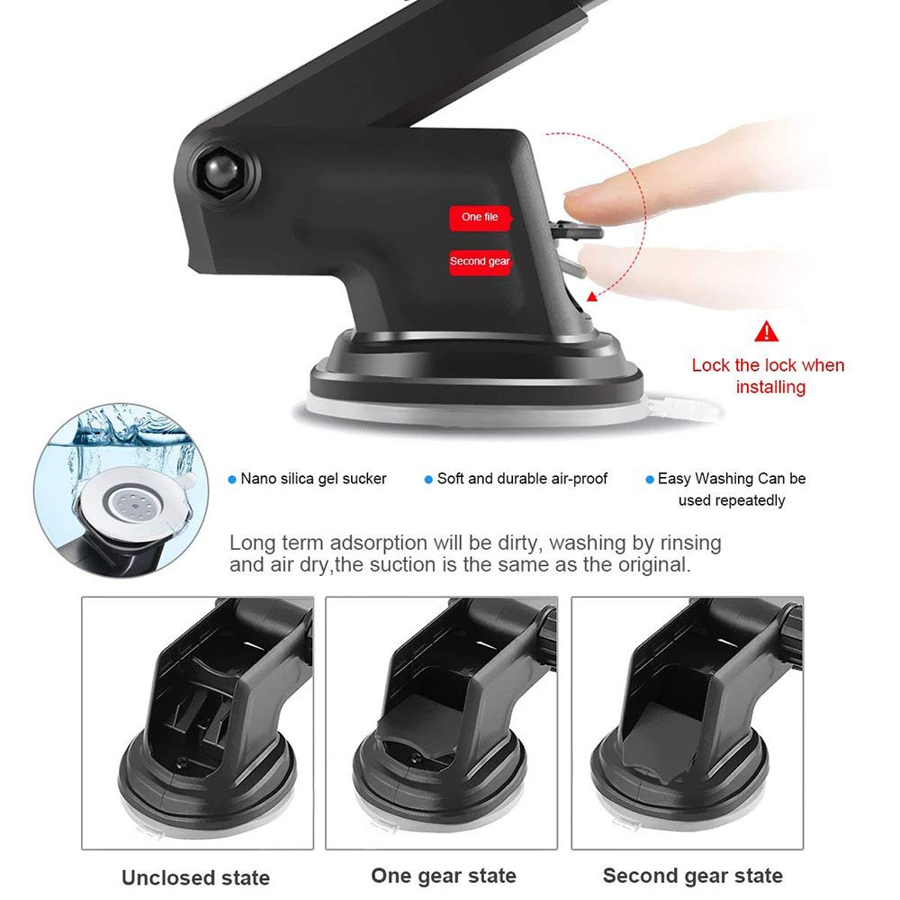360° Long Arm Universal Car Mount, Windshield/Dashboard & Air Vent Dual-Use Cell Phone Holder with Flexible Neck for iOS&Android Smartphones