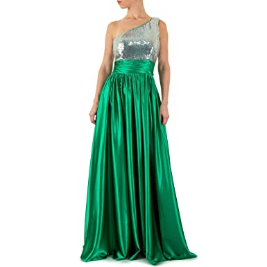Festamo Satin Ball Maxi Kleid Für Damen , Grün In Gr. 38 bei Ital ... da7af3e6b8