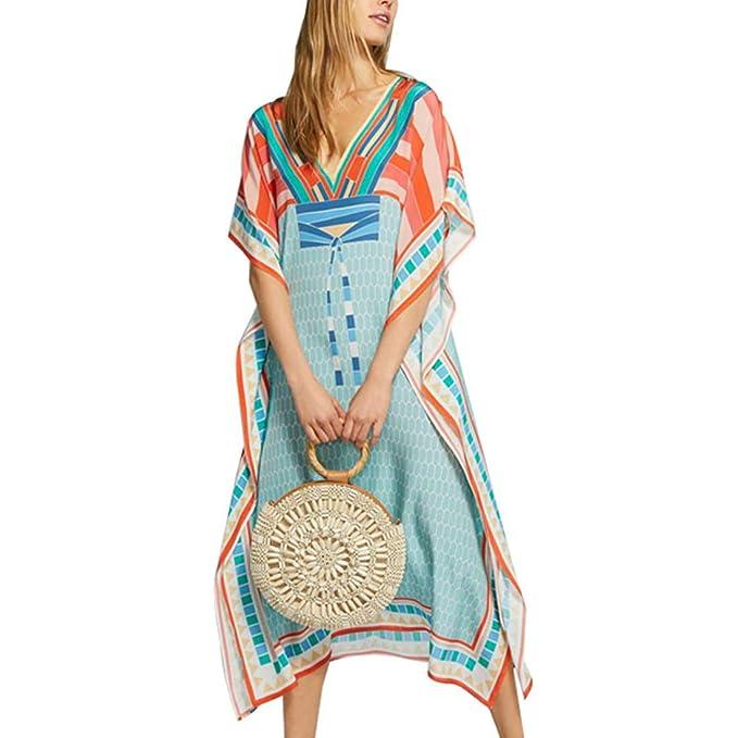 Baterflyo Women Cardigan Beach Bikini Cover up Cotton Beachwear Summer Kimono Kaftan Printed Maxi Dress Green