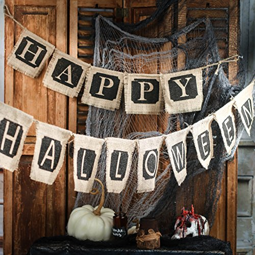Factory Direct Craft Natural Burlap Happy Halloween Banners
