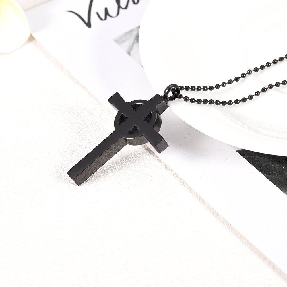 constantlife Black Cross Cremation Keepsake Cross Urn Necklace for Ashes Pendant for Men