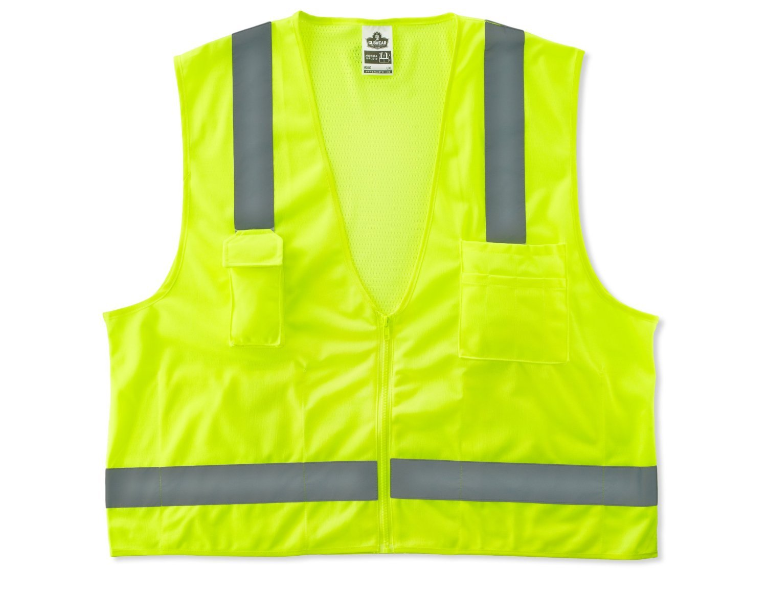 Ergodyne GloWear 8249Z ANSI Economy Lime Surveyors Reflective Safety Vest, Large/X-Large