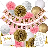 Pink And Gold Baby Shower Decorations For Girl | BONUS Baby Bingo and Pink Cake Topper | It's A Girl & Baby Shower Garland Banner, Paper Lanterns, Tassels, Baby Shower Game, Pom Poms, Honeycomb Balls