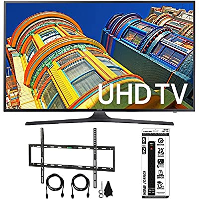 Samsung UN60KU6300FXZA - 60-Inch 4K UHD HDR Smart LED TV with Flat Wall Mount Bundle includes TV, Flat Wall Mount Ultimate Kit and 6 Outlet Power Strip with Dual USB Ports