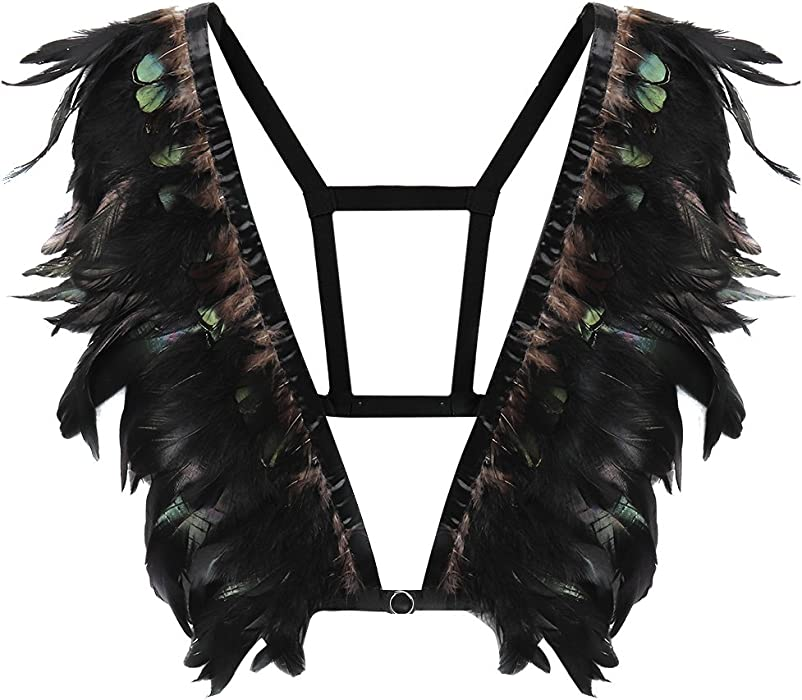 8497ec50d3a5a7 Goth Feather Epaulettes for Women s Burning Man Rave Wear Body Harness  Adjust Shoulder Wings Club Party