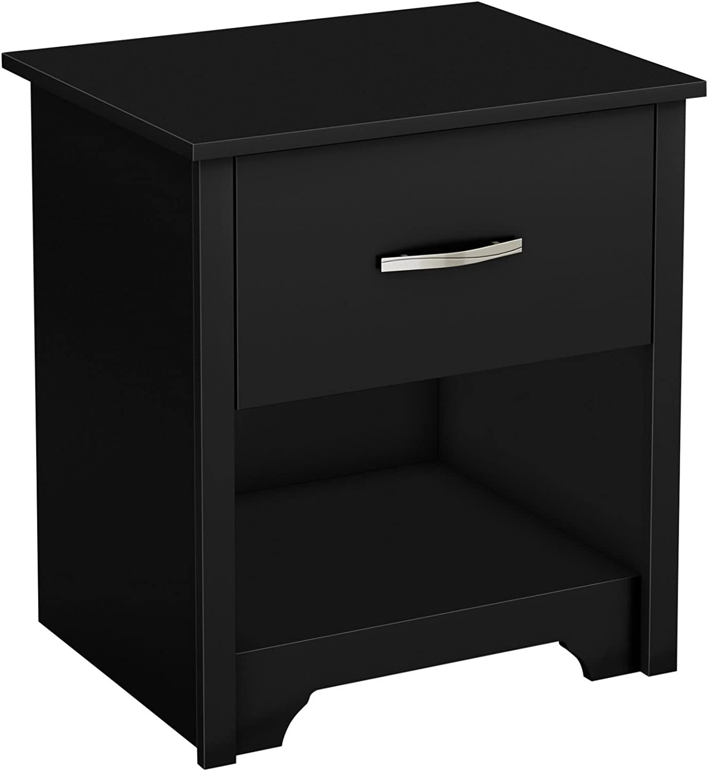 South Shore Fusion Nightstand, Pure Black with Grooved Metal Handles