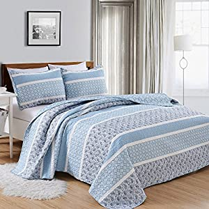 Great Bay Home 3-Piece Reversible Quilt Set with Shams. All-Season Bedspread with Striped Pattern in Gentle Colors. Kadi Collection By Brand. (King, Blue)