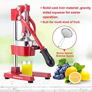 Commercial Citrus Press Fruit Squeezer Press Juicer Manual for Orange Lemon Pomegranate Juicing -Extracts Maximum Juice – Heavy Duty Cast Iron Base and Handle - Non Skid Suction Foot Base