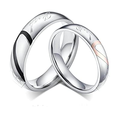 "Daesar Mens Wedding Rings Stainless Steel Heart Puzzle Wedding Bands"" Love"" ..."