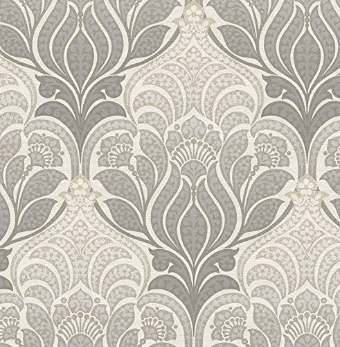 NuWallpaper NU2396 Grey Charisma Peel & Stick Wallpaper, ()