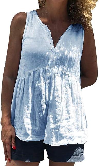 Camiseta De Verano De Manga Corta De Temperamento Camisa Sin Mangas con Cuello En V Y Blusa Sin Mangas con Botones para Mujer: Amazon.es: Ropa y accesorios