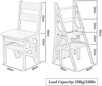 GBX Taburete de Peldaño Multifuncional para el Hogar, Sillas de Peldaño Plegables de Madera, Escaleras de Tijera de Escalera Taburete de Escalera de Madera Resistente Multifunción: Amazon.es: Bricolaje y herramientas