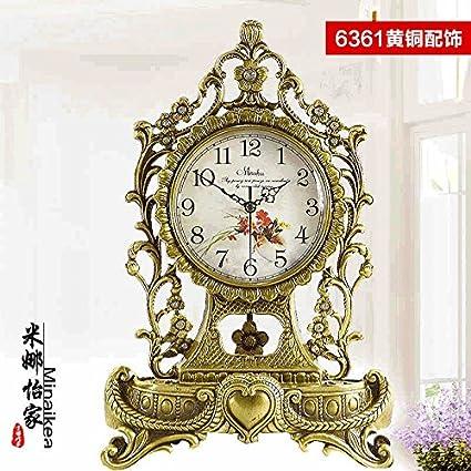 Salón De Estilo Europeo Antiguo Reloj De Latón Latón Reina El Silencio Reloj De Cuarzo Reloj