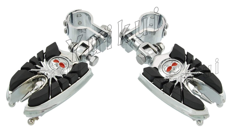 YUIKUI RACING オートバイ汎用 1-1/4インチ(32mm)/1インチ(25.4mm)エンジンガードのパイプ径に対応 スカル髑髏男性マウントハイウェイフットペグ タンデムペグ ステップ KAWASAKI 1700 (CLASSIC/CLASSIC LT/NOMAD/VAQUERO/VOYAGER) - (all MODELE) From 2009等適用   B07PX3V2SQ