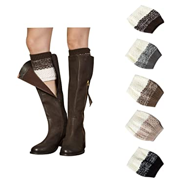 f9b86595d9a 5 Pairs Short Boots Socks for Women Crochet Knitted Leg Warmers Toppers  Boot Cuffs Socks at Amazon Women s Clothing store
