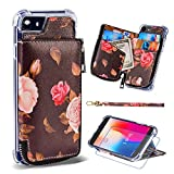 iPhone 8 Wallet Case,iPhone 7 Case with Card Holder,MISSCASE Premium Phone Case with Card Holder & Zipper Pockets,Floral Flower Pattern Protective Case for iPhone 7 / iPhone 8 / iPhone 6 Pink & Red Review
