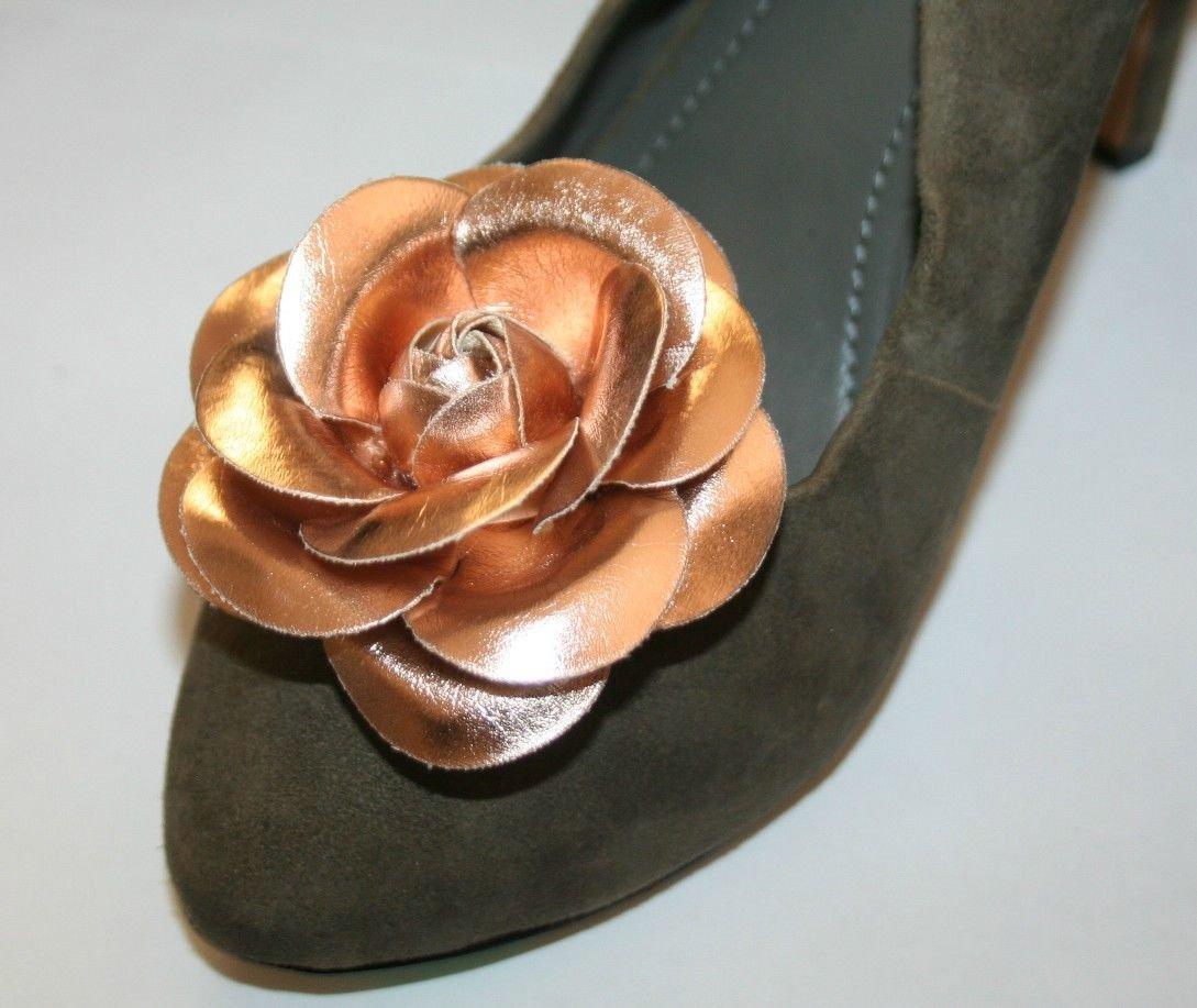 Gold Color Faux Leather Clip for Shoes (2 piece), Shoe Clips, Shoe Accessories