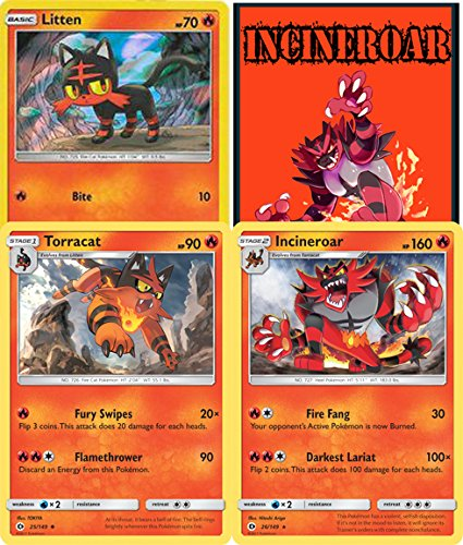 Pokémon - Incineroar Torracat Litten Sun & Moon Evolution line set - Rare - plus bonus online code card - Pokemon Evolution Set