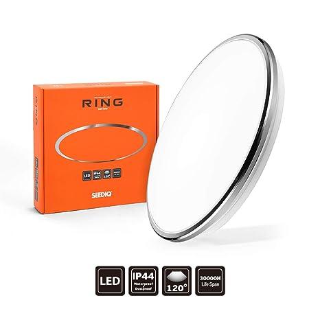 SEEDIQ® LED 18W Lámpara de Techo, Plafón led de Techo Redonda,Lámpara Dormitorio de Techo Impermeable,Blanco Frío 5000K,luz para ...