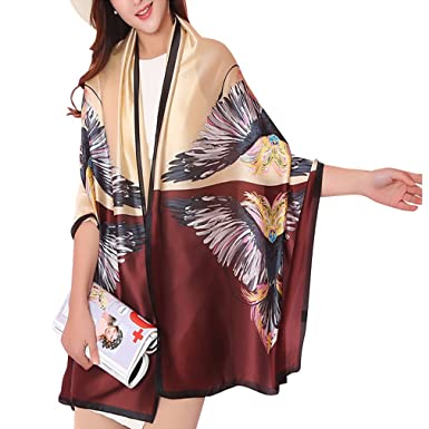 04d46ad805d3 DAMILY Dames Imitation Soie Pashmina Foulard Femmes Mode Plume Imprimer  Echarpes Châle Longue Bandana Hijab Wrap